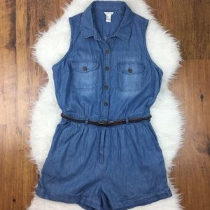 Pants - Blue Jean Sleeveless Romper